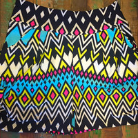 Diamond Chevron Printed Mint Pink and Yellow Super Soft Harem Short with Pockets