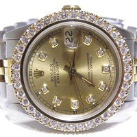 Rolex Ladies DateJust 18K Gold Steel Champagne Diamond Dial Jubilee 2.50ct 68273