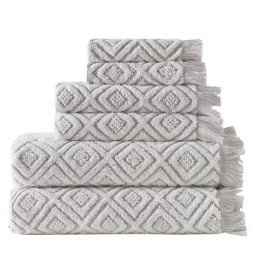 6-Piece Two-Toned Jacquard Turkish Bath Towel Set