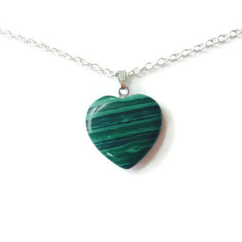 Malachite gemstone heart necklace gemstone heart pendant chakra necklace healing necklace reiki necklace girlfriend necklace malachite heart