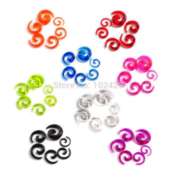12Pcs/set Acrylic Spiral Ear Stretching Tapers Body Jewelry Mix Lots Acrylic Ear Tapers Fake Ear Expander Plug Tunnel Kit