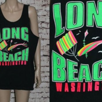 90s Muscle Tee Neon Beach Black Green Pink White Graphic Tshirt T Shirt XL L Mens Wear Distressed Grunge Punk Hipster Festival Rave Surf 80s