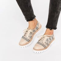 Jeffrey Campbell Pistol Cut Out Chunky Lace Up Flat Shoes