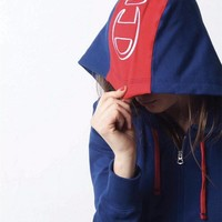 Champion Hooded Red Splicing Semi zipper Cardigan Hoodie Sweatshirt