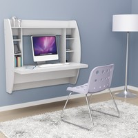 Prepac Floating Desk with Storage - White | www.hayneedle.com
