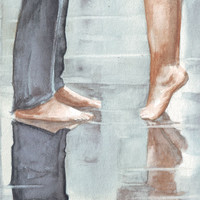 Original watercolor painting Reflections of a kissing couple art