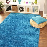 Ribbons Teal Blue Modern Soft Yarn Thick Quality Shag Pile Rugs - 4 Small Large Sizes