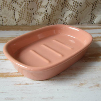 Vintage Soap Dish Coral Peach Ceramic Andre Richard Made in Japan Soap Holder 80s Bathroom Decor Large Bar Soapdish