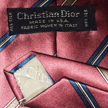 Sale!! Vintage CHRISTIAN DIOR mens designer pure silk necktie Made in USA