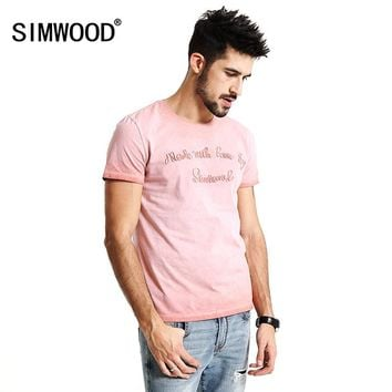 SIMWOOD 2017 Summer New T Shirt Men 100% Pure Cotton Vintage Letter embroidered  Slim Fit Tops Brand Clothing TD1152