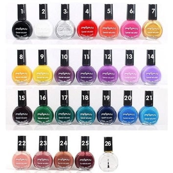 10ML 26 Color Nail Polish Varnish Tasteless Non-toxic Nail Art Template Stamping