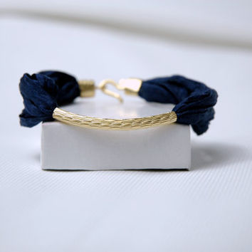 Gold filled Oriental Tube Bracelet with Navy Blue Silk by Myvera