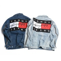 Women Men Lover Denim Cardigan Jacket Coat