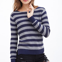 FOREVER 21 Classic Striped Sweater Navy/Grey
