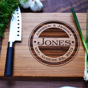 "Personalized Cutting Board Engraved Bamboo Wood ""Monogram"" for Wedding, Anniversary gift"