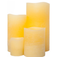 Canary Distressed Flameless Pillar Candle, Remote Ready