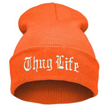 THUG LIFE Letter Embroidered Unisex Beanie Fashion 2pac Hip Hop Mens & Womens Knitted Orange & White Tupac Cuffed Skully Hat