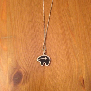 Zuni Bear Silver Necklace - Vintage Polar Bear Totem Stamped .925 Silver Pendant with Chain