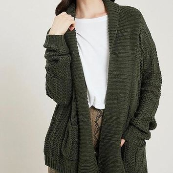 Open Front Cable Knit Sweater Cardigan - Forest Green