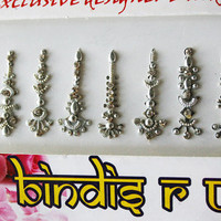 10 Bindi Silver in Long BindiS Jewelry Pack Forehead Tika Gems.