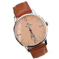 Classic Rose Gold Men or Womens Watch on Brown Leather Band [Watch]
