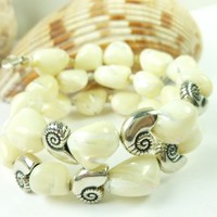 Mother of Pearl Nugget Sterling Nautilus Charm Beaded Bracelet