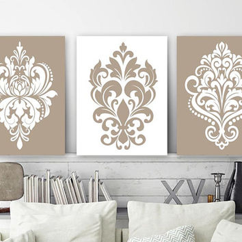 Beige Bedroom Wall Decor, CANVAS or Prints, Beige Bathroom Decor, Damask Design Artwork, Beige Home Decor, Wall Hanging, Set of 3 Decor