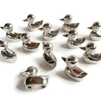 12 Vintage Silver Toned Duck Place Card Name Holders . Animal Place Card Holders . Boxed . Place Settings .