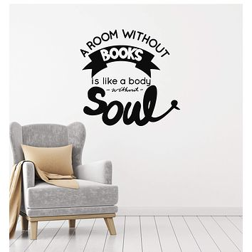 Vinyl Wall Decal Book Quote Saying Reading Corner Library Room Interior Stickers Mural (ig5834)
