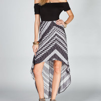 Full Tilt Off Shoulder Hi Low Dress Black Combo  In Sizes