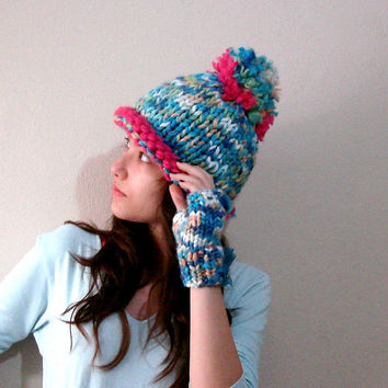 Blue Color Pom Pom Hat, Cute  Chunky Knit Hat, Pompom Hat Knitted Pink in Blue, Knitted Beanies