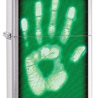Zippo Ghostly Handprint Brushed Chrome Lighter