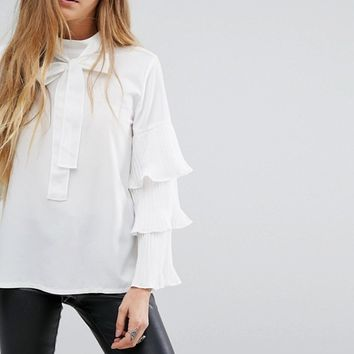 Navy London Brandy Tie Neck Top With Layered Sleeves at asos.com