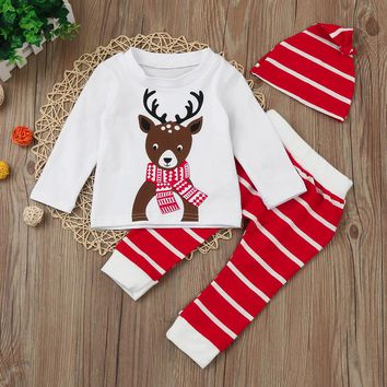 3 Pc Baby Girl's Long Sleeve Christmas Reindeer Print Shirt and Striped Pants and Hat