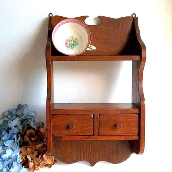 Vintage Pine Wood Wall Shelf with drawers, curio, spice shelf, handmade, Shabby Cottage Rustic decor, Kitchen Bathroom shelf storage