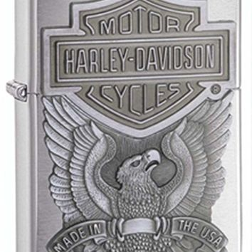 Harley-Davidson Brushed Chrome Zippo Outdoor Indoor Windproof Lighter Free Custom Personalized Engraved Message Permanent Lifetime Engraving on Backside