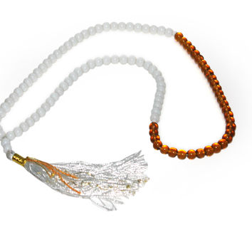 Prayer Beads Rosary Tasbih With Smooth Multi Colors (White & Orange, 99 Beads)