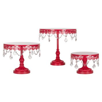 3-Piece Crystal Cake Stand Set (Red)