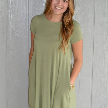 Weekend Fun Dress: Dusty Olive