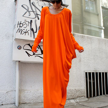 Orange Asymmetric Kaftan / Maxi Dress / Loose Extra Long Sleeve Kaftan