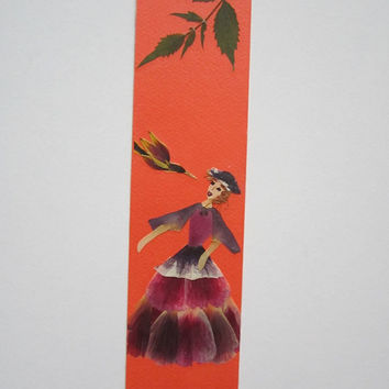 """Handmade unique bookmark """"Conversation, face to face"""" - Decorated with dried pressed flowers and herbs - Original art collage."""