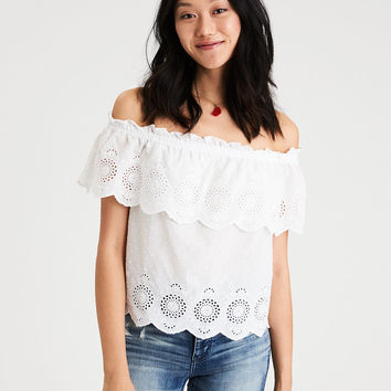 AE Off-the-shoulder eyelet top, White