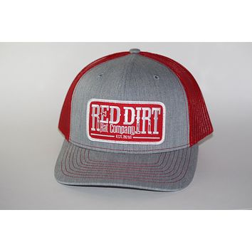 Red Dirt Hat Co Patch Hat Heather Grey/Red Snap Back Trucker Hat