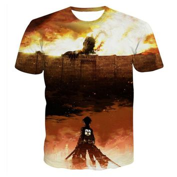 Cool Attack on Titan Harajuku 3D Printed T-shirts Men Fashion Summer Anime  Graphic Tee Shirts New Design Fashion Homme Unisex Tops AT_90_11