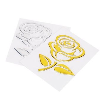 Golden/Silver Reflective Car Styling Flower Car Stickers 3D Cutout Rose Universal Auto Motorcycle Stickers Car Body Decor