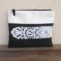 Lace Makeup Bag, Black Cosmetic Bag Large, Black and White Clutch, Lace Pouch, Cosmetic Pouch, Lace Bag, Gift for Her