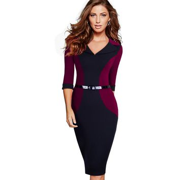 Professional Women Elegant Casual Work Business Office Classic V Neck Belted Colorblock Contrasting Pencil Dress