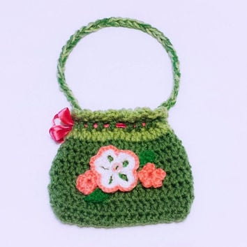 Crochet girls pouch, drawstring bag, flower toddler sac, kid birthday, unique children gift floral tarot bag, crocheted purse children sack