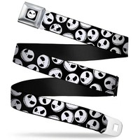 Nightmare Before Christmas Jack Black/White Webbing - Seatbelt Belt