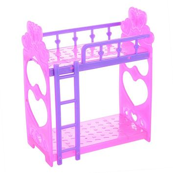 Lanlan Cute 3.5 Inch Plastic Double Bed Frame For Kelly Barbie Doll Bedroom Furniture Accessories Purple Pink Or Pink Yellow Color Random